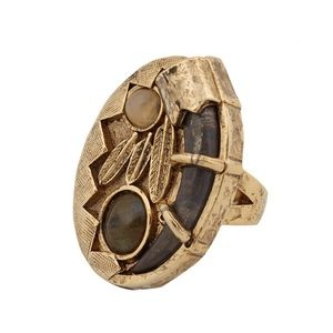 House Of Harlow Horn Stone Feather Ring